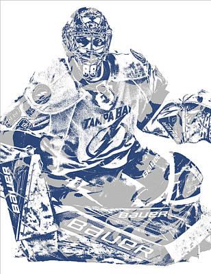 Mixed Media - Andrei Vasilevskiy Tampa Bay Lightning Pixel Art 2 by Joe Hamilton