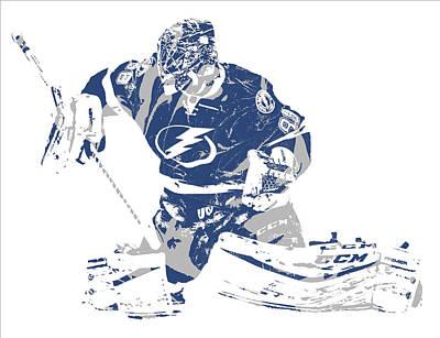 Mixed Media - Andrei Vasilevskiy Tampa Bay Lightning Pixel Art 3 by Joe Hamilton