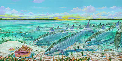 Sports Paintings - Andros  Bonefishes IN0032 by Carey Chen