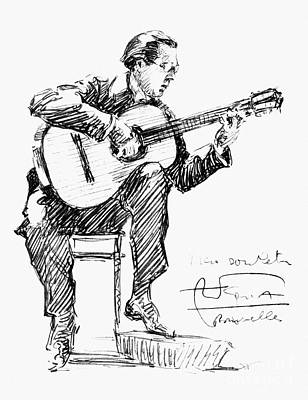 Autographed Drawing - Andres Segovia by Granger