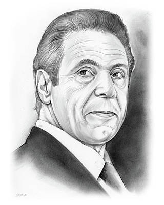 Politicians Drawings - Andrew Cuomo by Greg Joens
