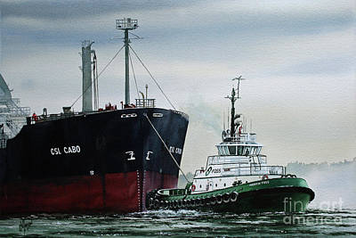 Tugboat Wall Art - Painting - Andrew Foss Ship Assist by James Williamson