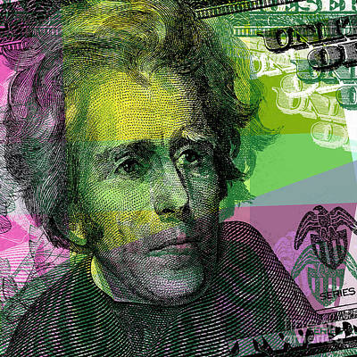 Art Print featuring the digital art Andrew Jackson - $20 Bill by Jean luc Comperat