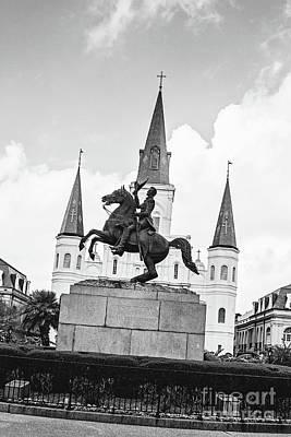 Photograph - Andrew Jackson - Jackson Square New Orleans Bw by Scott Pellegrin