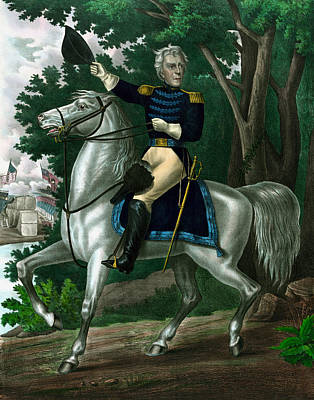 Patriot Mixed Media - Andrew Jackson On Horseback by War Is Hell Store