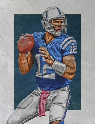 Stanford Wall Art - Painting - Andrew Luck Indianapolis Colts Art by Joe Hamilton
