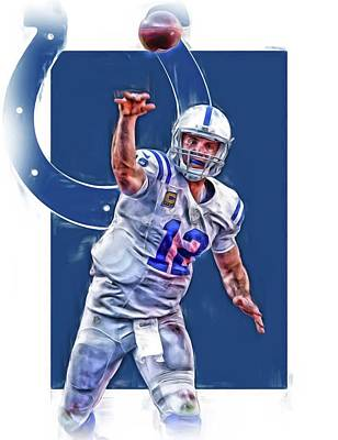 Indianapolis Mixed Media - Andrew Luck Indianapolis Colts Oil Art 1 by Joe Hamilton