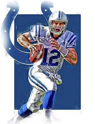 Luck Mixed Media - Andrew Luck Indianapolis Colts Oil Art by Joe Hamilton