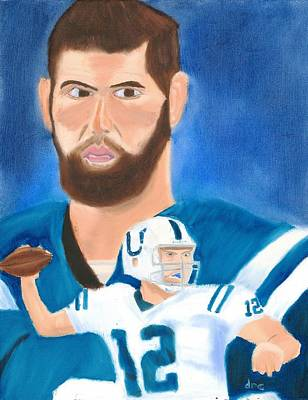 Andrew Luck Painting - Andrew Luck Nfl Indianapolis Colts Portrait by Derek Clendening