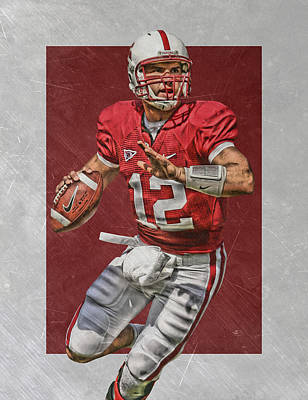 Stanford Wall Art - Painting - Andrew Luck Stanford Cardinals Art by Joe Hamilton