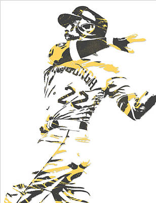 Pittsburgh Pirates Mixed Media - Andrew Mccutchen Pittsburgh Pirates Pixel Art 1 by Joe Hamilton