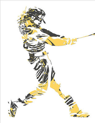 Mixed Media - Andrew Mccutchen Pittsburgh Pirates Pixel Art 2 by Joe Hamilton