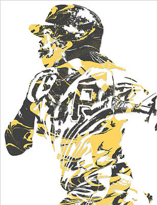Mixed Media - Andrew Mccutchen Pittsburgh Pirates Pixel Art 3 by Joe Hamilton