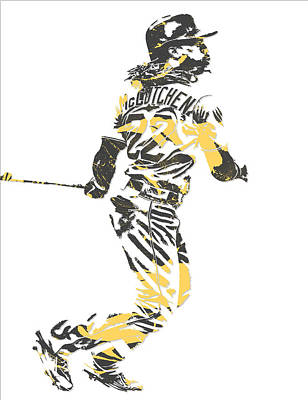 Mixed Media - Andrew Mccutchen Pittsburgh Pirates Pixel Art 4 by Joe Hamilton