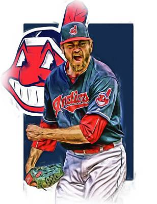 Baseball Glove Mixed Media - Andrew Miller Cleveland Indians Oil Art by Joe Hamilton