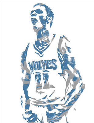 Mixed Media - Andrew Wiggins Minnesota Timberwolves Pixel Art 1 by Joe Hamilton