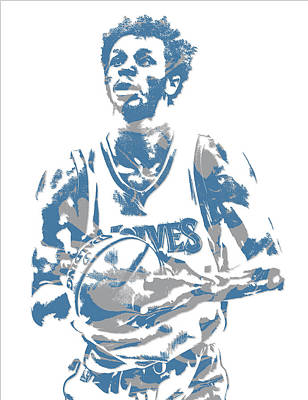 Mixed Media - Andrew Wiggins Minnesota Timberwolves Pixel Art 3 by Joe Hamilton