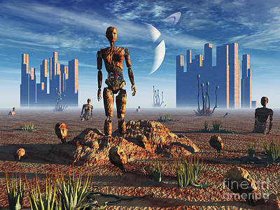 Extraterrestrial Existence Digital Art - Android Fossils Preserved by Mark Stevenson