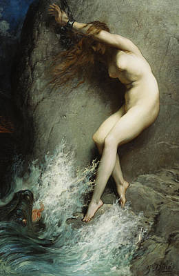 Damsel In Distress Painting - Andromeda by Gustave Dore