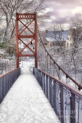 Androscoggin Swinging Bridge And Yellow House In Winter Art Print