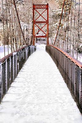 Androscoggin Photograph - Androscoggin Swinging Bridge In Snow by Olivier Le Queinec