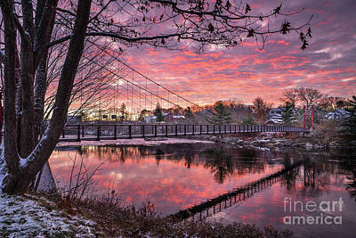 Androscoggin Photograph - Androscoggin Swinging Bridge Reflections by Benjamin Williamson