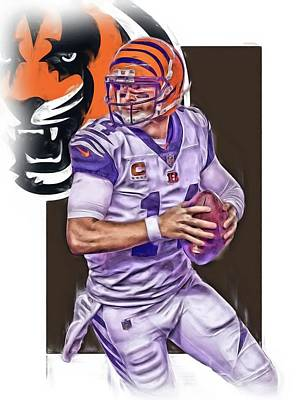Nfl Mixed Media - Andy Dalton Cincinnati Bengals Oil Art by Joe Hamilton