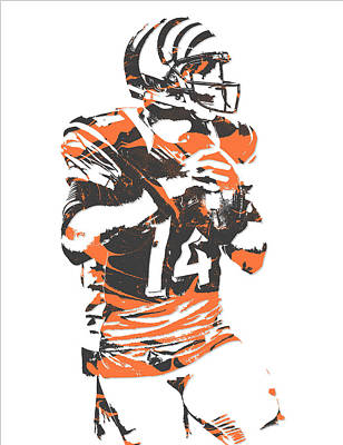Mixed Media - Andy Dalton Cincinnati Bengals Pixel Art 5 by Joe Hamilton