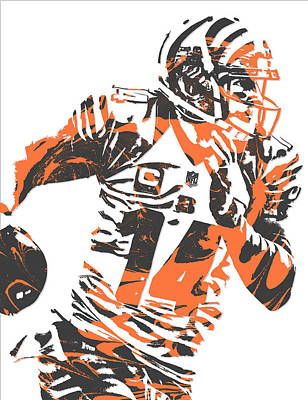 Mixed Media - Andy Dalton Cincinnati Bengals Pixel Art 6 by Joe Hamilton