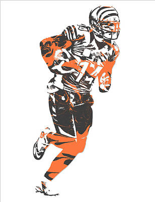 Mixed Media - Andy Dalton Cincinnati Bengals Pixel Art 7 by Joe Hamilton