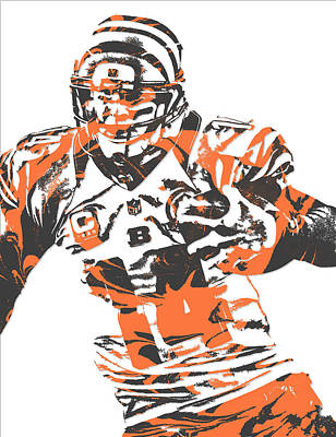 Mixed Media - Andy Dalton Cincinnati Bengals Pixel Art 8 by Joe Hamilton