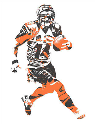 Mixed Media - Andy Dalton Cincinnati Bengals Pixel Art 9 by Joe Hamilton