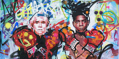 Painting - Andy Warhol And Jean-michel Basquiat by Richard Day