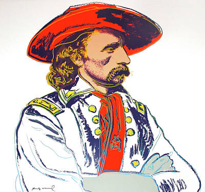 Western Art Mixed Media - Andy Warhol, General Custer, Cowboys And Indians Series by Andy Warhol