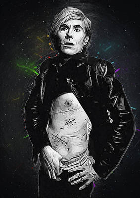 Eric Clapton Digital Art - Andy Warhol by Semih Yurdabak