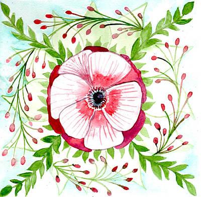 Painting - Anemone Botanical Mandala by Louise Gale