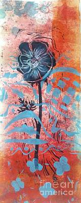 Mixed Media - Anemone In Orange And Blue by Cynthia Lagoudakis
