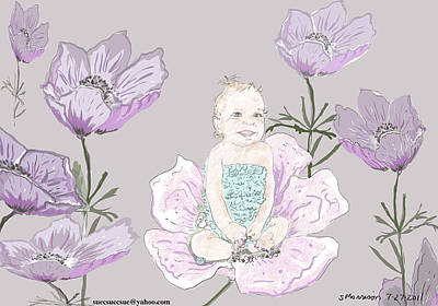 Cartoon Drawing - Anemone Rose Amy by Susie Morrison