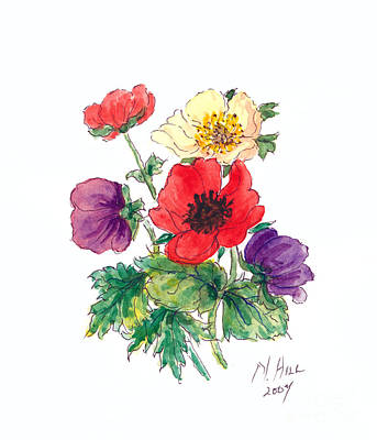 Multi Colored Drawing - Anemones by Nell Hill