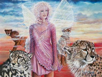 Painting -     Angel And Her Pride Of Cheetas  by Sigrid Tune