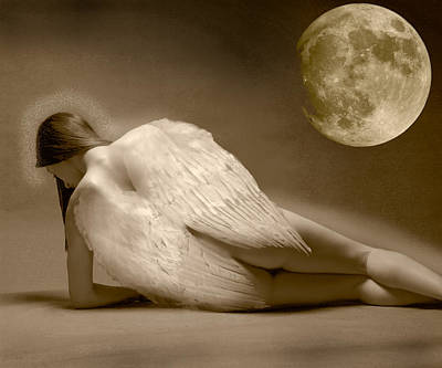 Angel And Moon Art Print by Gustavo Fortunatto
