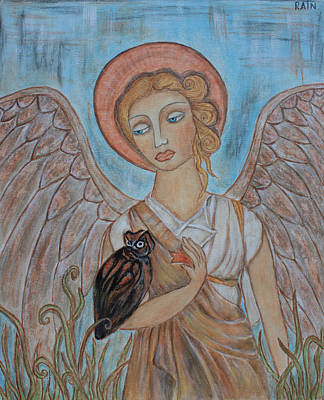 Devotional Painting - Angel And Owl by Rain Ririn