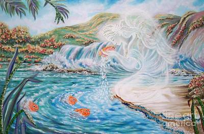 Painting -  Angel And The Fishes  Flying-lamb-productions  by Sigrid Tune