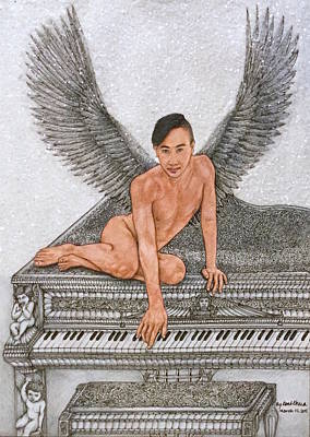 Black And White Drawing - Angel And The Piano by Kent Chua