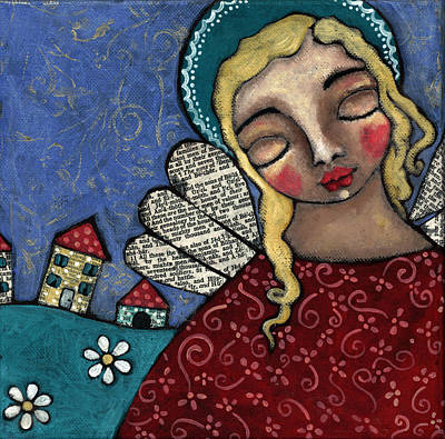 Christian Art . Devotional Art Painting - Angel And Village by Julie-ann Bowden