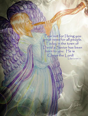 Jesus Christ Drawing - Angel Announcement by Cheryl Rose