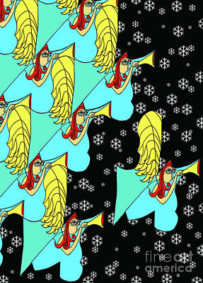 Digital Art - Angel Array With Snowflakes by Genevieve Esson