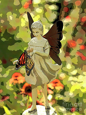 Photograph - Angel Artistic Photo With Butterflies by Luana K Perez