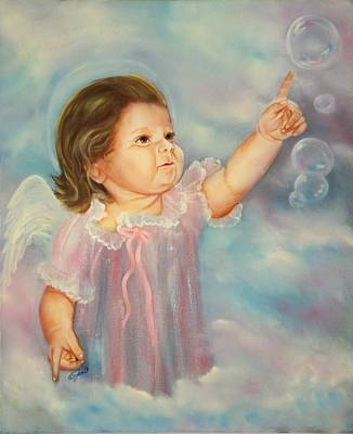 Child Painting - Angel Baby by Joni McPherson