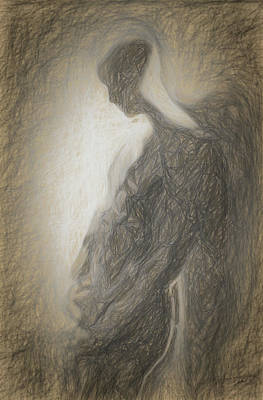 Male Nude Drawing Drawing - Angel Backlit by Quim Abella